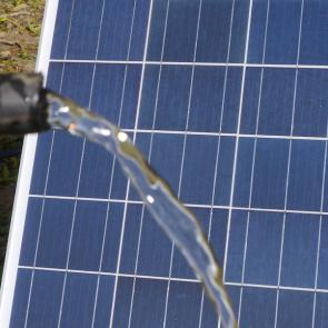 Water flowing from Solar powered pump